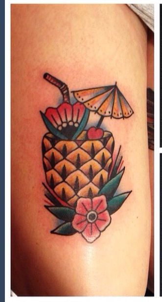 Pineapple cocktail tattoo, pretty sure it's done by Kim-anh Nguyen (Netherlands)