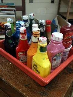 Use empty ketchup bottles to store and dispense acrylic paint. No more dried clog in the paint pumps! Yay!