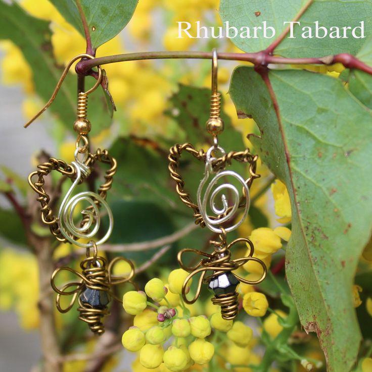 Honey bee earrings, bee, wire wrapped , handmade jewellery, handmade honey bee, unique earrings, pretty bee jewellery by RhubarbTabard on Etsy