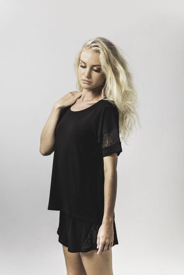 jacqui lace trim sleep tee in black & bex lace trim sleep short in black available now @ marceau.com.au