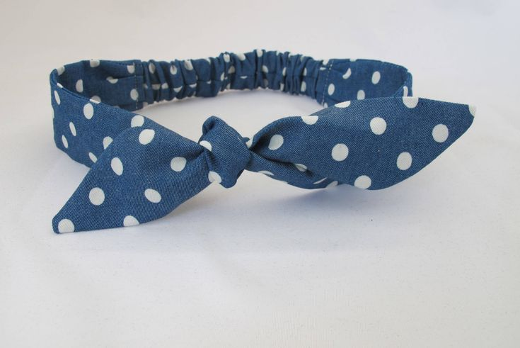 Polka Dot Baby Headband || Denim Baby Headband | Baby Girl Headband | Baby Top Knot | Baby Bow Headband | Handmade Headband | Blue Headband by littlefolkproject on Etsy https://www.etsy.com/au/listing/571522909/polka-dot-baby-headband-denim-baby