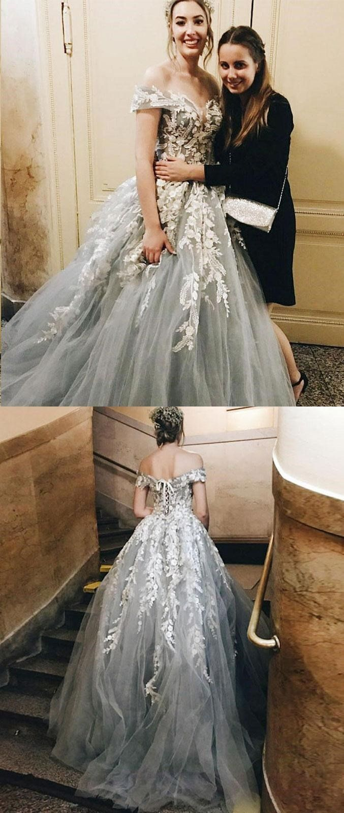 Gray off the shoulder lace appliques fairy long charming prom