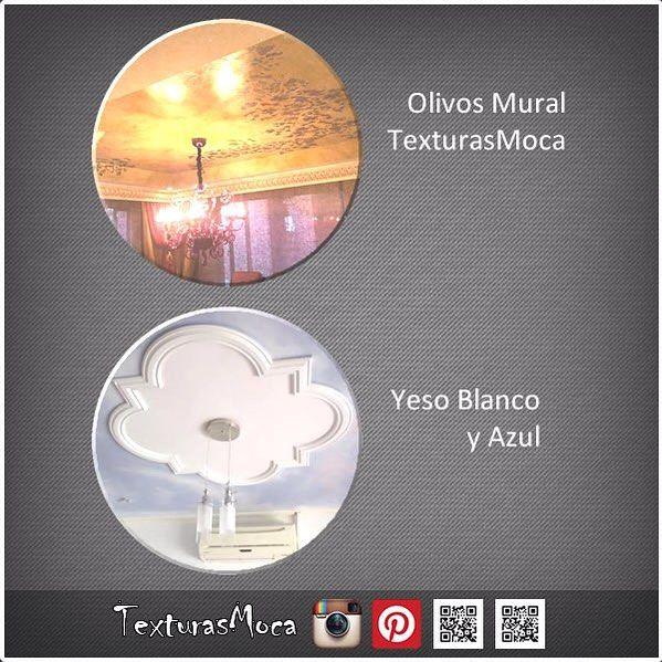 """Comparación de descolgados, entre mural de olivos """"hecho por mi"""" y otros trabajos en yeso #descolgados #texturas #murales #colombia #bogota #arte"""