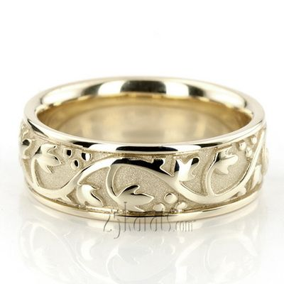 floral antique handmade wedding ring hc100232 14k gold - Handmade Wedding Rings