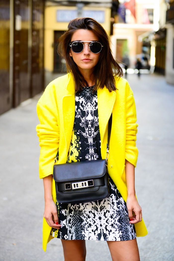 Lovely Pepa - yellow statement coat/ psychedelic statement dress
