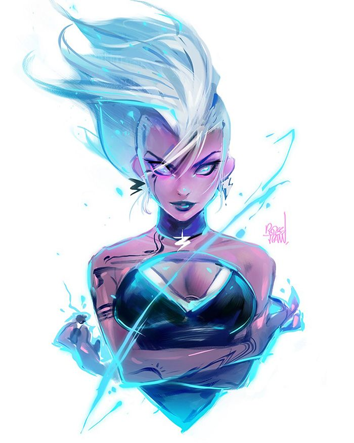 "rossdraws: ""Painting Storm this week! I made a poll on my Patreon asking what to paint for a Black History month appreciation Episode and she leads :> ⚡ """