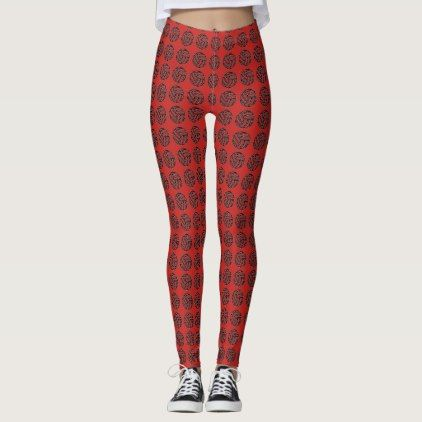 Leggings Red with Black Circular Pattern - red gifts color style cyo diy personalize unique