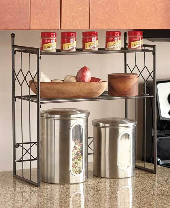 Bronze 2 tier shelf kitchen counter space saver cabinet for Kitchen countertop storage solutions