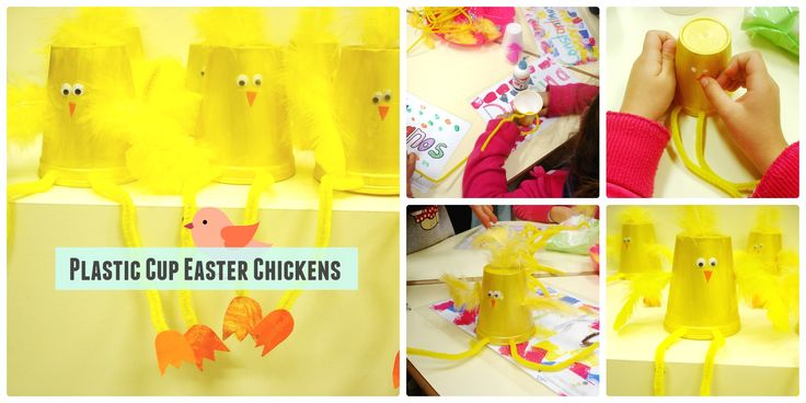 Easter chickens! really easy plastic cup chickens craft