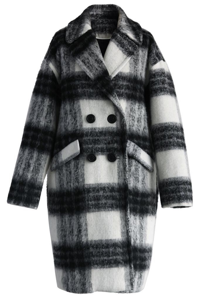 Fuzzy Cocoon Coat in Checks - New Arrivals - Retro, Indie and Unique Fashion
