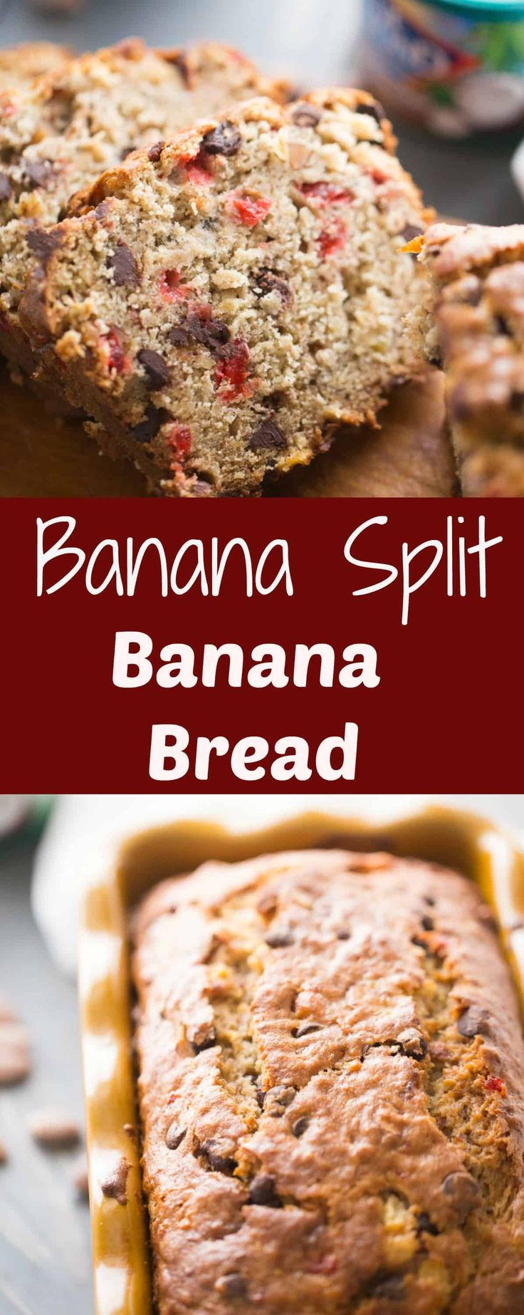 Banana Split Banana Bread - This incredibly moist banana holds everything you'd want in a banana split! In each slice, you'll find bananas, pineapple, cherries, chocolate, and almonds! via @Lemonsforlulu