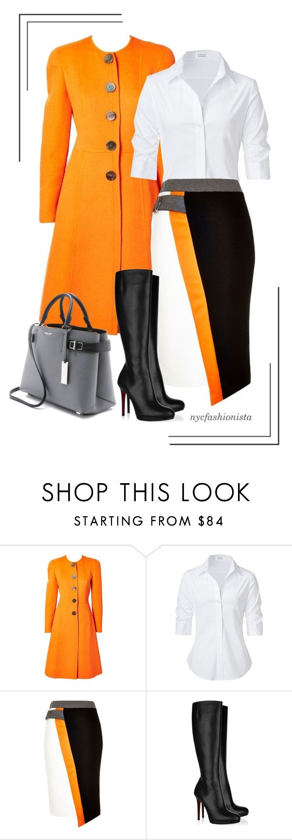 """""""Orange Crush"""" by nycfashionista ❤ liked on Polyvore featuring Valentino, Steffen Schraut, River Island, Christian Louboutin and Michael Kors"""