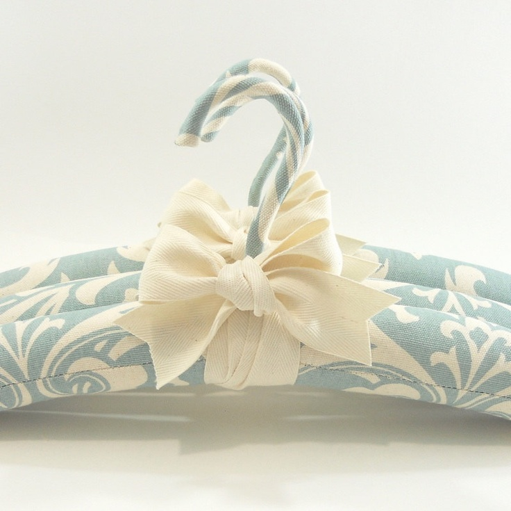 Padded Hangers Robins Egg Blue Damask Print.