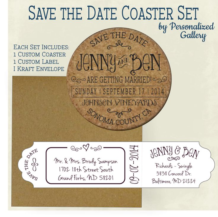 Custom Save the Date Invitation cork coasters With Envelopes & Printed Address Labels Wine Barrel by PersonalizedGallery on Etsy https://www.etsy.com/listing/165839065/custom-save-the-date-invitation-cork