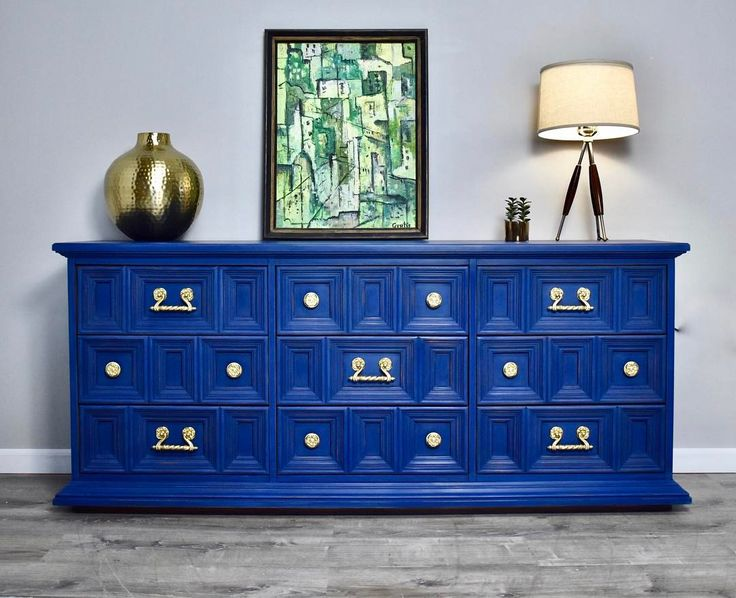 Mid Century Sideboard / Dresser In Windsor Blue