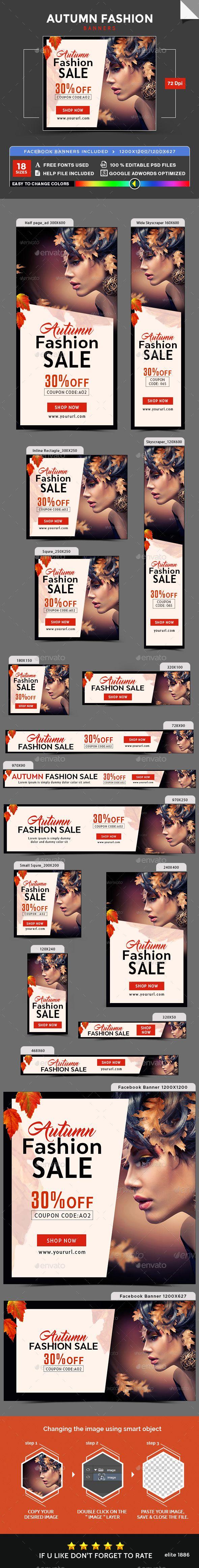 Autumn Fashion Sale Banners  — PSD Template #studio #web banner • Download ➝ https://graphicriver.net/item/autumn-fashion-sale-banners/18285788?ref=pxcr