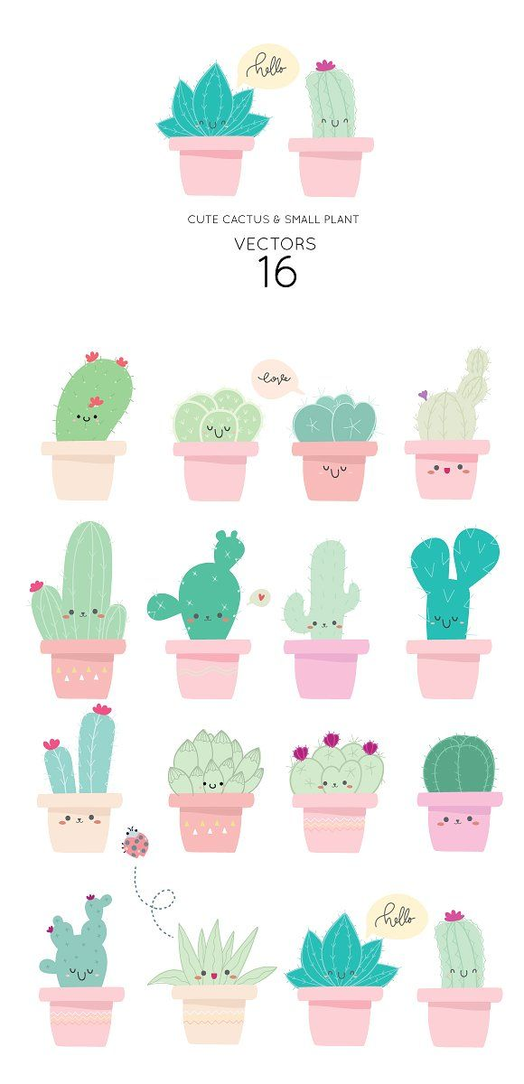 Cute Cactus VECTOR ELEMENTS by beerjunk on Creativ…