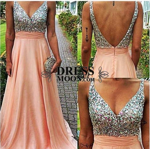 Gorgeous A Line V Neck Chiffon with Beading and Sequins Floor-Length Prom Dress - PROM