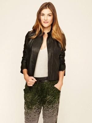 Improvd Cotton Sleeve Leather Jacket in Green | Lyst