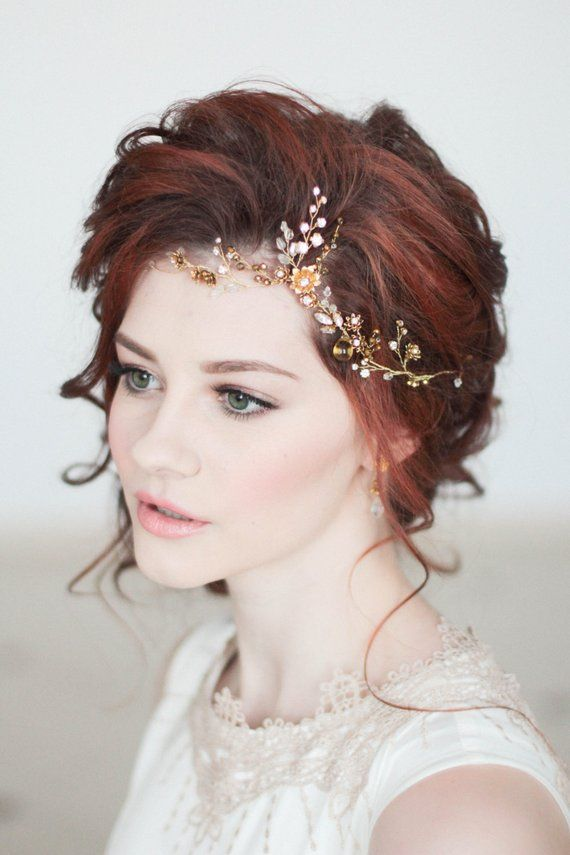 Bridal Halo Headpiece Gold Bridal Headdress Floral Tiara Flower Hair Vine Bridal Hair Piece Wedding Headpiece Bridal Headband Side Halo Gold