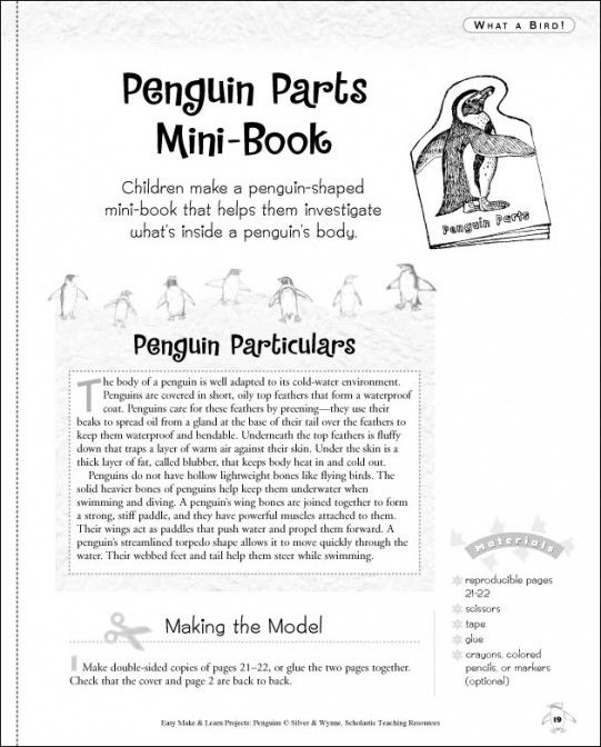 Scholastic easy make and learn projects penguins