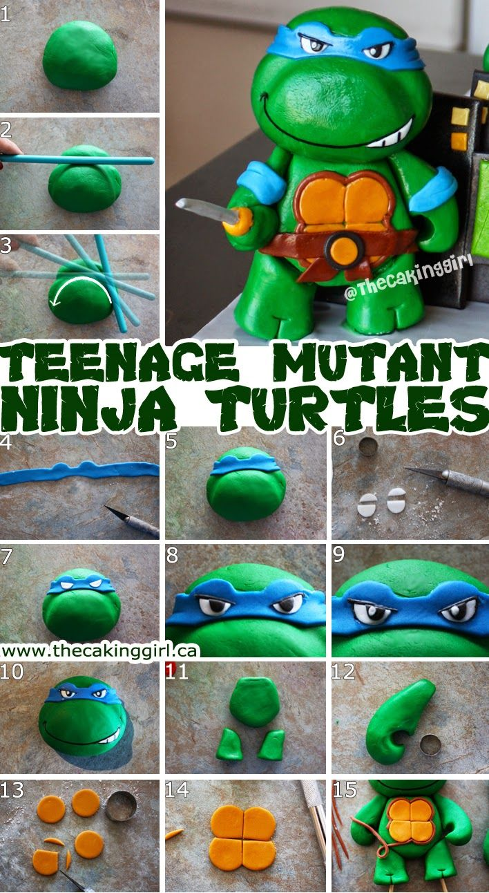 HOW TO MAKE NINJA TURTLE TMNT FIGURINE TUTORIAL - diy step by step tmnt figurine cake topper tutorial, with gumpaste, fondant or clay.  easy to follow pictorial with instructions. www.thecakinggirl.ca