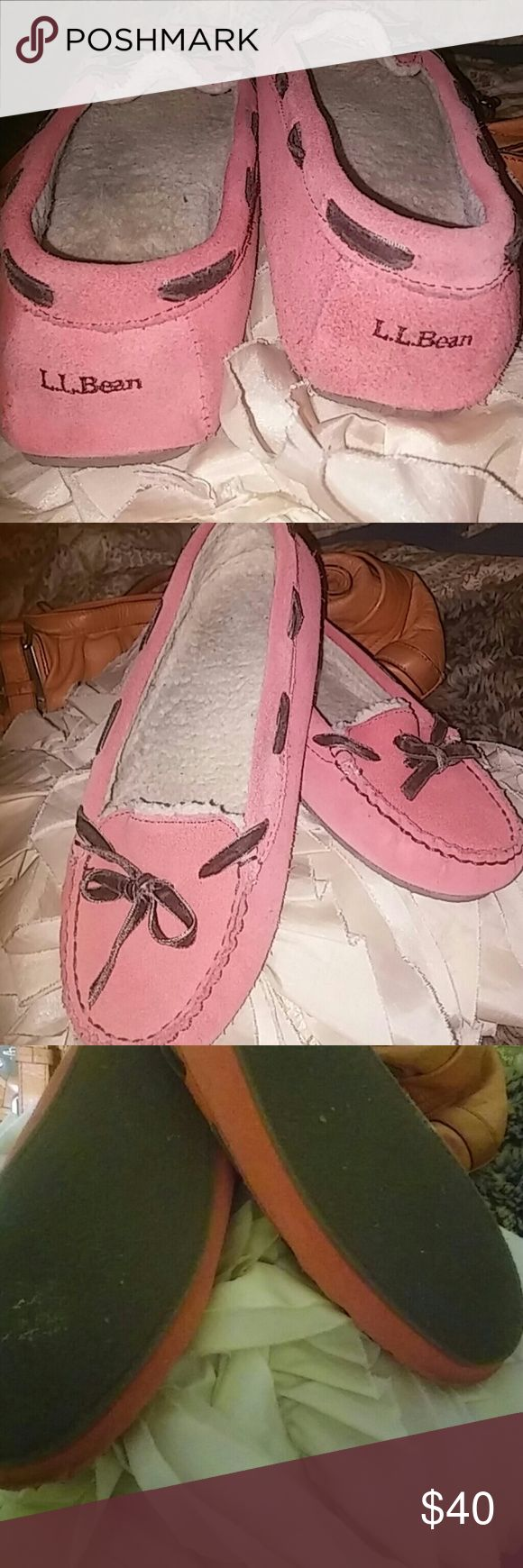 LL Bean slippers like new. Super comfy and pretty leather LL Bean slippers. Pinkish dark salmon color. Worn once! LL Bean Shoes Slippers