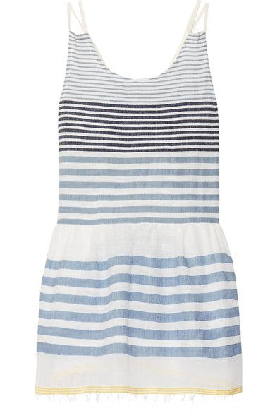 LemLem - Fringed Striped Cotton-blend Gauze Mini Dress - Sky blue - x small