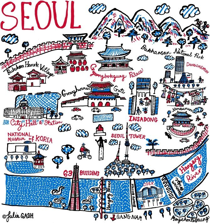 Julia discovered Seoul through drawing the city and the map provided a useful reference when she visited this fast growing, Asian metropolis later the same year. Traditional Korean architecture such as Gwanghwamun Gate, Namdaemun and Gyeonbokgung Palace feature strongly in this Cityscape where buildings are decked with tiled, curved roofs and surrounded by fortress like walls...