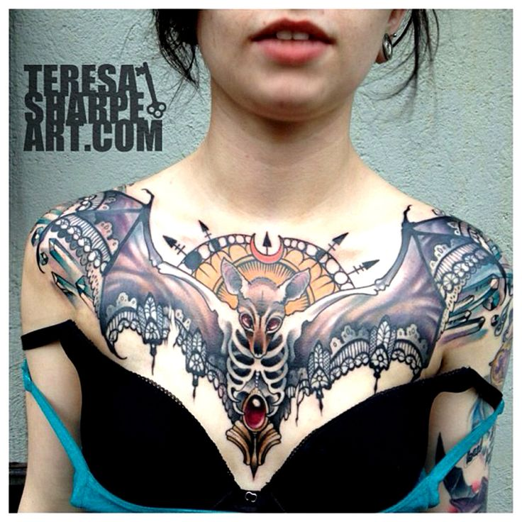 Teresa sharpe: gothic bat chest piece. Absolutely love it. I could never do anything like this but it's admirable.
