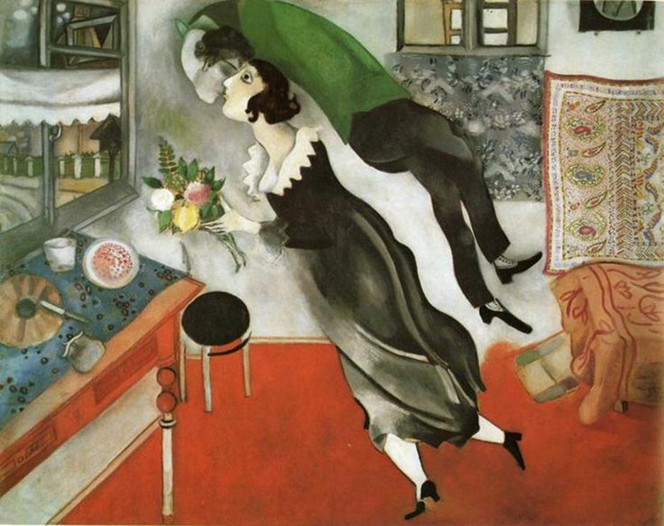 """Mark Chagall """"L'Anniversaire"""", 1923 – $16.3 million. It's curious that New York's famous MOMA have had exactly the same painting since 1949, only painted in 1915 and entitled """"Birthday"""". It's not sure what the artist meant to say by this."""
