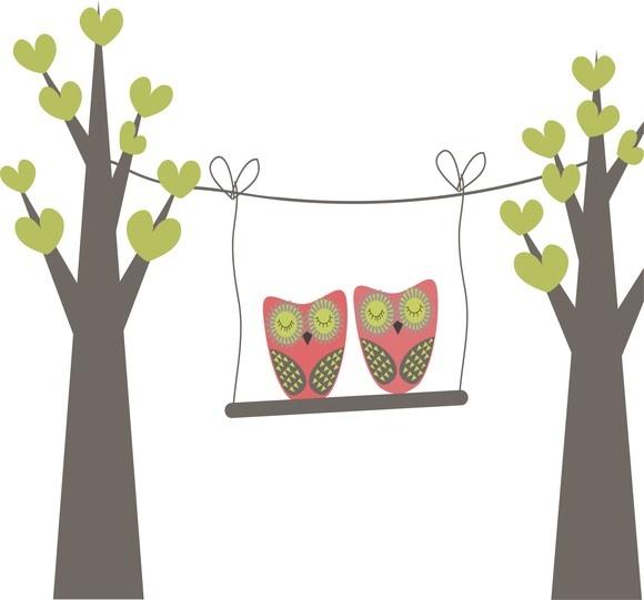Adesivo parede casal de corujas