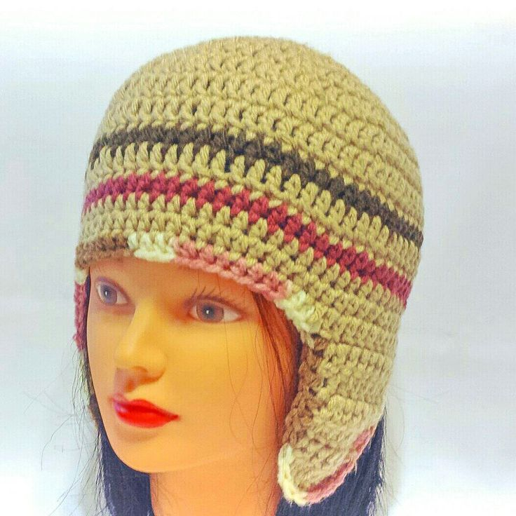 Working on some new women size hat designs. Love this stripe flap ear hat. New listing coming soon to my shop!