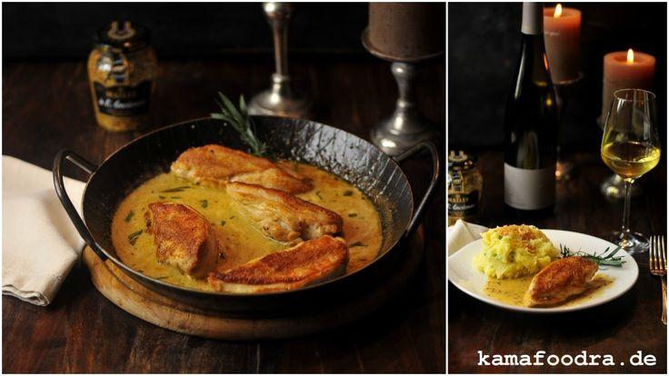Huhn in Senf-Honig-Estragon Sauce, Stampfkartoffeln mit Panko-Haselnussbröseln