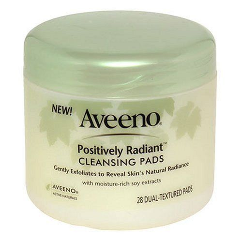 Aveeno Active Naturals Positively Radiant Cleansing Pads, 28-Count Pads (Pack of 3) by Aveeno. $19.00. Soap-free. Hypoallergenic. Moistened with skin-conditioning cleansers and natural soy for brighter, naturally radiant skin. Oil-free. Non-comedogenic. These dual-textured cleansing pads, moistened with foaming skin-conditioning cleansers and natural Soy, help even out skin tone and texture for brighter, naturally radiant skin. The pad is smooth on one side to lif...