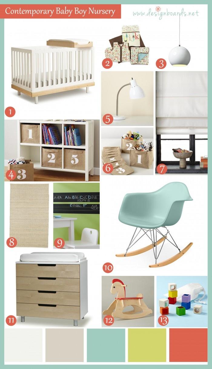 Contemporary Nursery: Baby Boy | Design Boards #nurserydesign #baby #babysroom