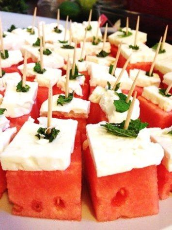 Watermelon Feta Bites with a sprig of Mint? such an easy summer appetizer #healthyfood