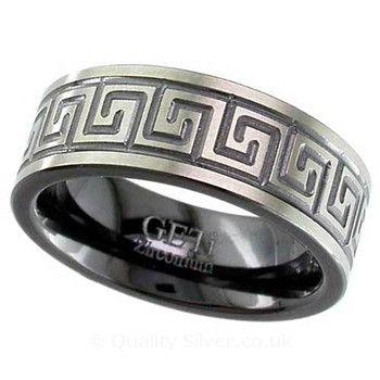 Geti Flat Zirconium Greek Key Ring