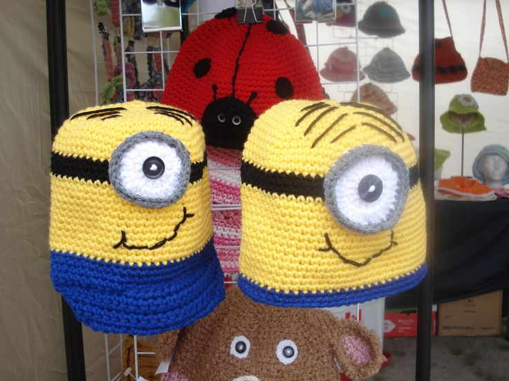 Minion crochet hats for kids ( or adults)