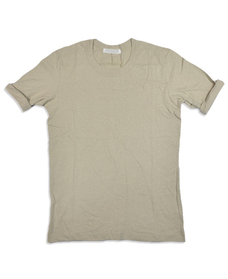 Oatmeal rolled sleeve T-shirt
