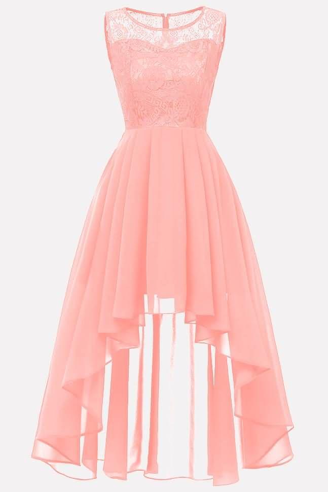 Women Light-pink Lace Mesh Splicing Sleeveless Elegant A Line Dress – XXL