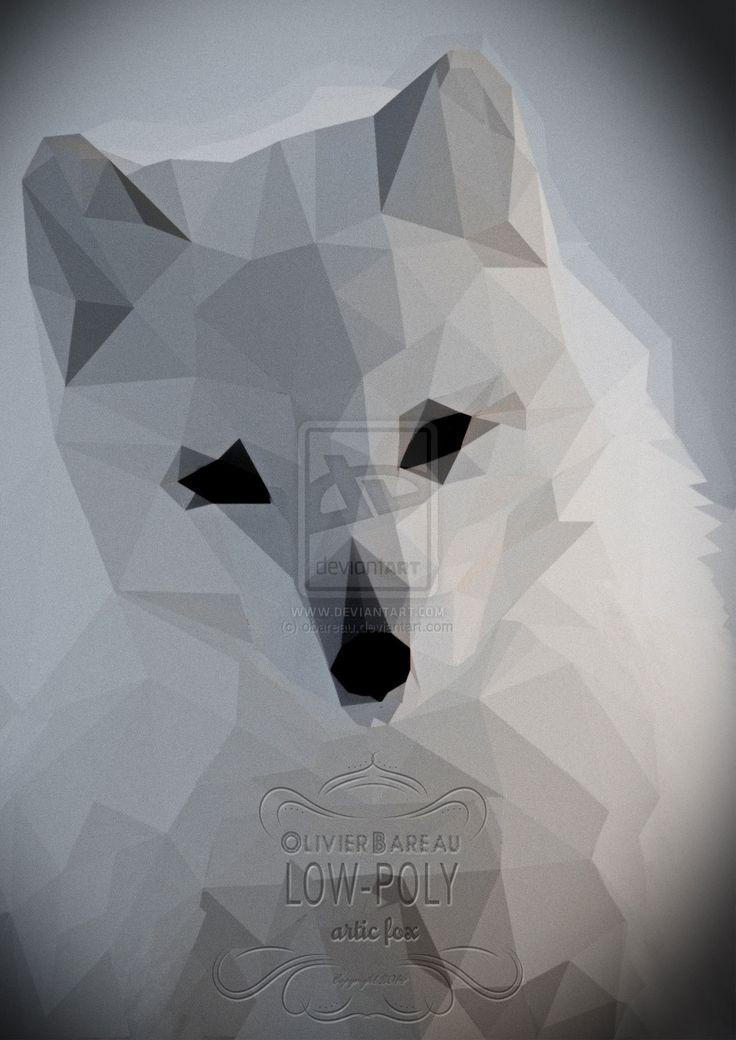 Arctic Fox Low Poly by obareau.deviantart.com on @deviantART