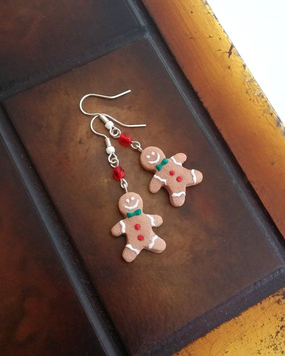 Gingerbread Man Cookie Earrings Handmade From by EvasCreationsShop