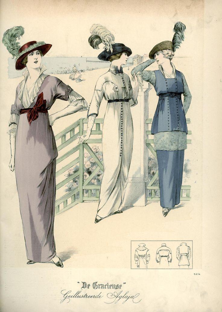 [De Gracieuse] No. 1. Namiddagjapon van charmeuse. No. 2. Eenvoudige japon van zijden stof. No. 3. Casino-toilet (September 1913)