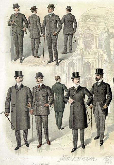 Winter fashions for men: 1899-1900   from a print published in August of 1899. These are things you'd see on a day-to-day basis, as well as more formal attire for guys attending the opera or a theater production.  Official caption: Print showing men posed wearing fall and winter business and theater fashions with overcoats and hats, against a backdrop of an interior view of the recently-opened Library of Congress Thomas Jefferson Building.
