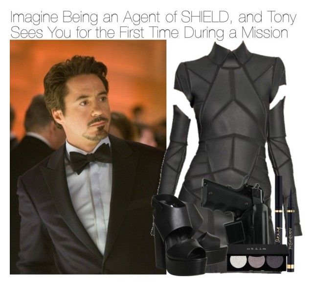 """Imagine Being an Agent of SHIELD, and Tony Sees You for the First Time During a Mission"" by fandomimagineshere ❤ liked on Polyvore featuring Marvel, Gareth Pugh, Stila and Office"