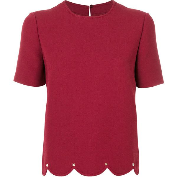 Valentino Silk T-Shirt ($1,565) ❤ liked on Polyvore featuring tops, t-shirts, bordeaux, red tee, short sleeve silk top, back slit top, silk tee and silk top