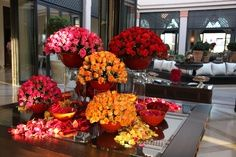 Beautiful Scene at our Lobby, yellow, pink & red roses!
