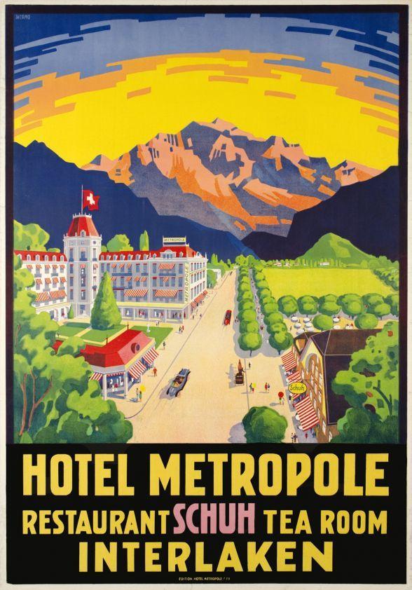 Interlaken, Hotel Metropole, Restaurant Schuh Tea room (by Muller Jacomo) Wonderful four stars Metropole Hotel and the Schuh restaurant nearby, in Interlaken. Rare poster by Jacomo Muller, printed in stone-lithography.