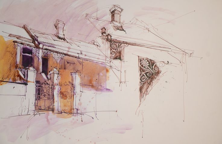 studies of row housing in Oranjezicht cape Town.1974. Speedball pen, sepia ink and water colour on cartridge.
